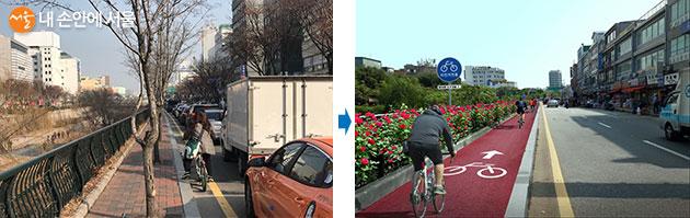 남측 청계2가~청계7가 자전거 우선도로 (좌) 개선 전, (우) 개선 후