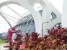 큰 곰 인형이 식물원 온실을 들여다보고 있는 모습이 보이는 서울식물원