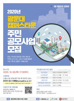 2020년 광운대 캠퍼스타운 2차 주민공모사업 포스터