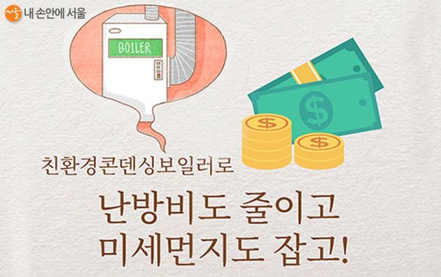 서울시는 '친환경 보일러' 설치 보조금을 지원하고, 신한‧삼성카드를 이용할 경우 추가 혜택을 제공한다.