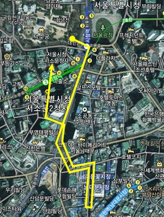 요일별 순라의식 동선도 토요일(남대문시장) 순라(약 1.9km)