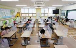 초등학생들이 마스크를 쓰고, 거리두기하며 수업하고 있는 모습