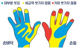 잘 씻기지 않는 손 부위