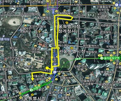 요일별 순라의식 동선도 금요일(청계광장) 순라(약 1.7km)