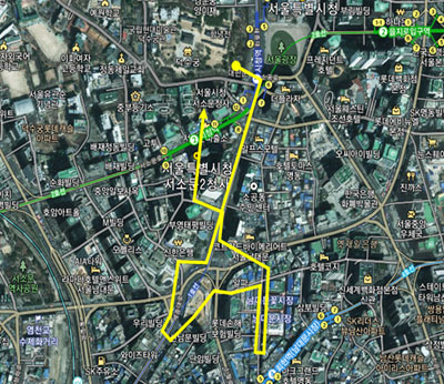요일별 순라의식 동선도 1) 화요일/일요일(숭례문) 순라(약 2km)