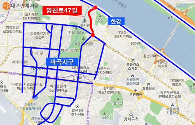 마곡지구에는 지금까지 총연장 13.2km의 자전거도로가 조성됐다.