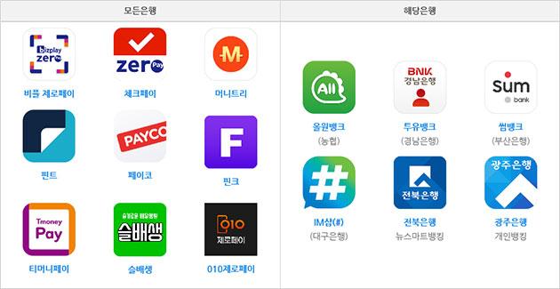 서울사랑상품권 15개 결제앱 (2020년 12월 기준)