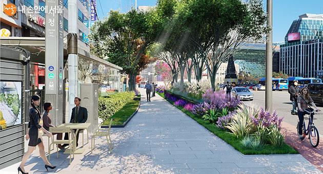 '세종대로 사람숲길' 공사가 올해 안에 마무리 돼 1월 임시 개방한다. 이미지는 시청역 주변 예상도