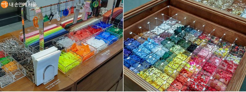 단추가게에서 만나볼 수 있는 봉제 관련 굿즈들, 형형색색의 단추들이 인상적이다