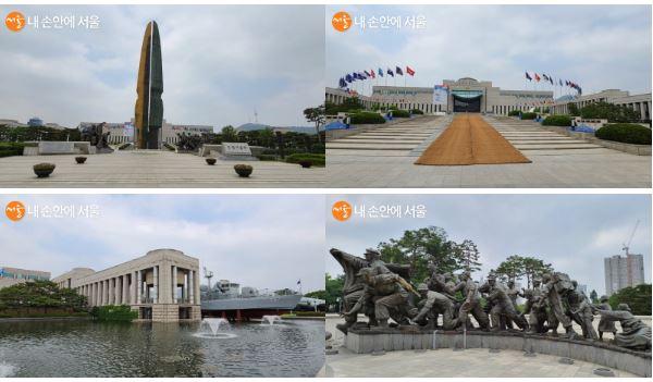 평화로운 모습의 전쟁기념관 외관 및 옥외 전시장의 모습