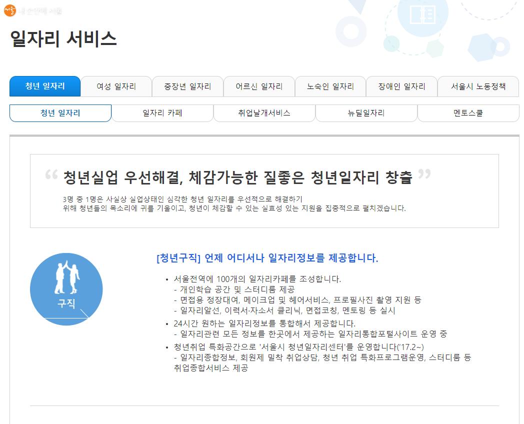서울 일자리 포털 '일자리 서비스'의 청년일자리 항목