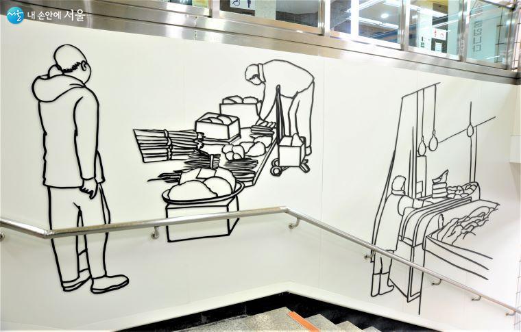 'STAIR 미술관' 계단 공간의 황혜선 작 「시장 풍경」 ⓒ조수봉