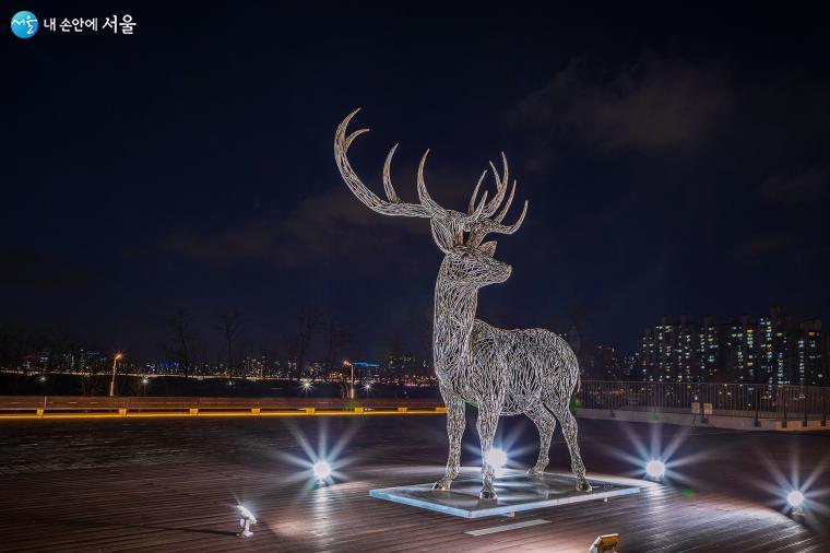 낮과 달리 밤에는 조명을 받아 사슴의 철 구조물이 더욱더 도드라져 보인다 ⓒ양인억