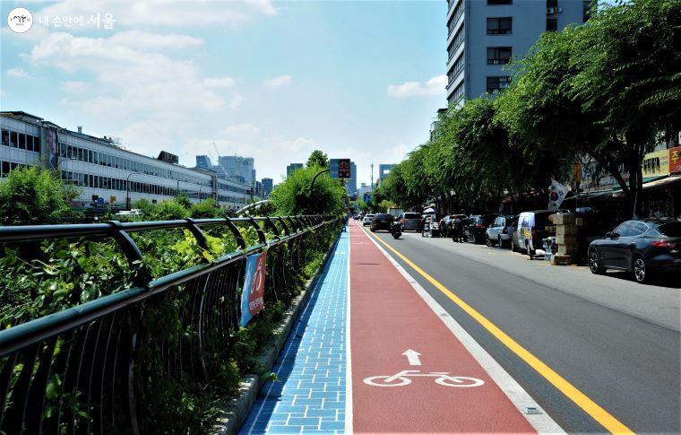 상행 구간도 자전거 전용도로와 안전통로(보행로)가 같이 설치된 구간과 그렇지 않은 구간이 있다.